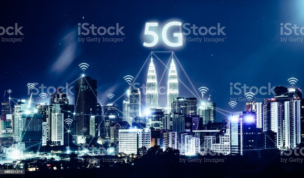 5G network wireless systems and internet of things with modern city skyline. Smart city and communication network concept . stock photo