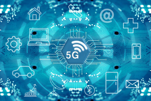 5G network wireless systems and internet. stock photo
