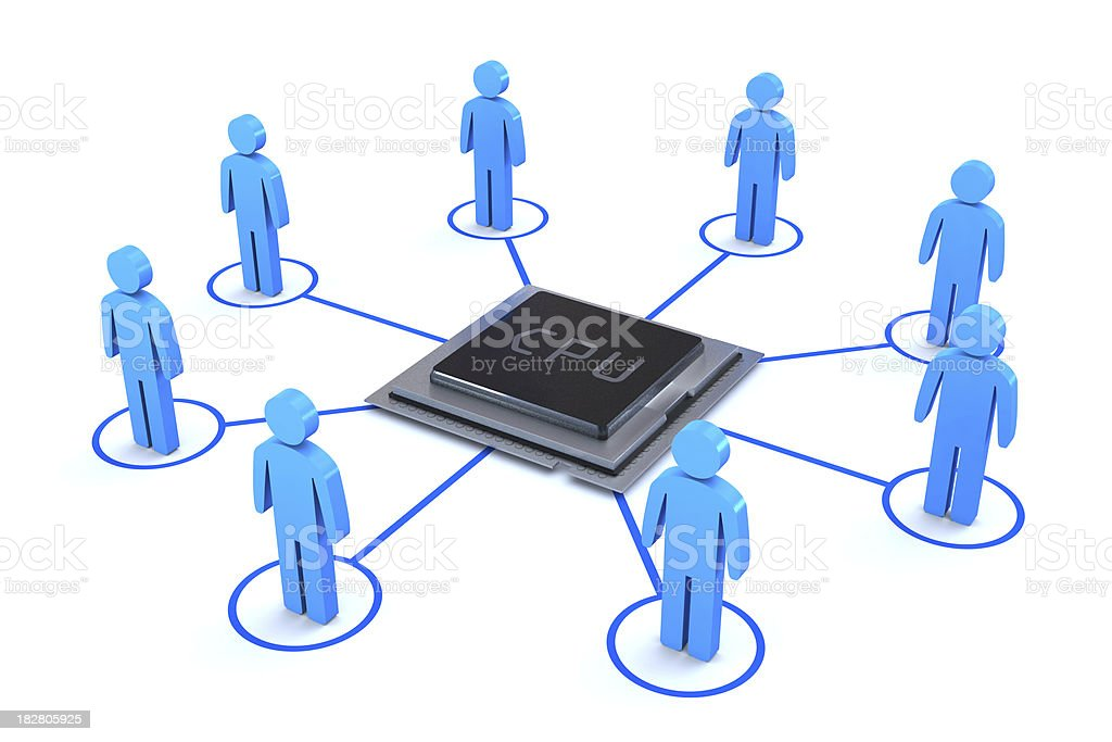 Network with CPU in the middle royalty-free stock photo