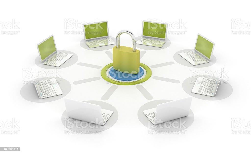 Network with padlock royalty-free stock photo