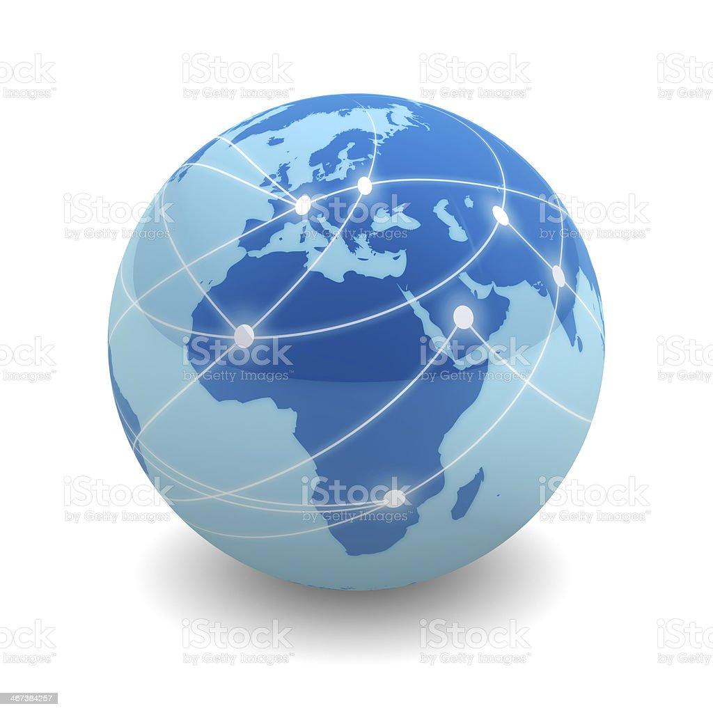 Networked globe - Europe & Africa stock photo