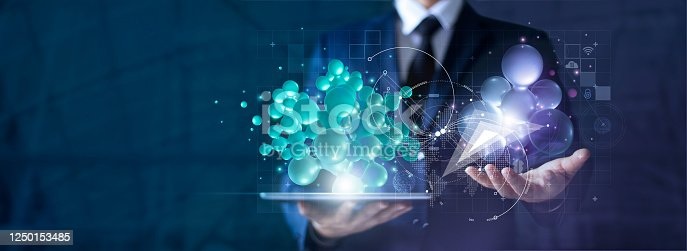 914788012 istock photo Networking and communication concept, Abstract of 3D network connection in tablet and businessman hands, tablet, innovative and technology, Network and data exchanges on cyberspace. 1250153485