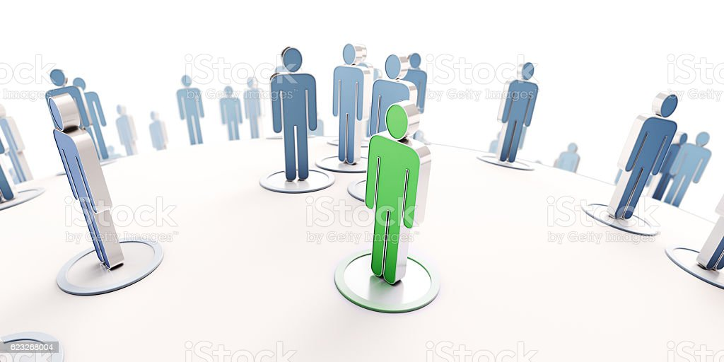 Networking green and blue stock photo