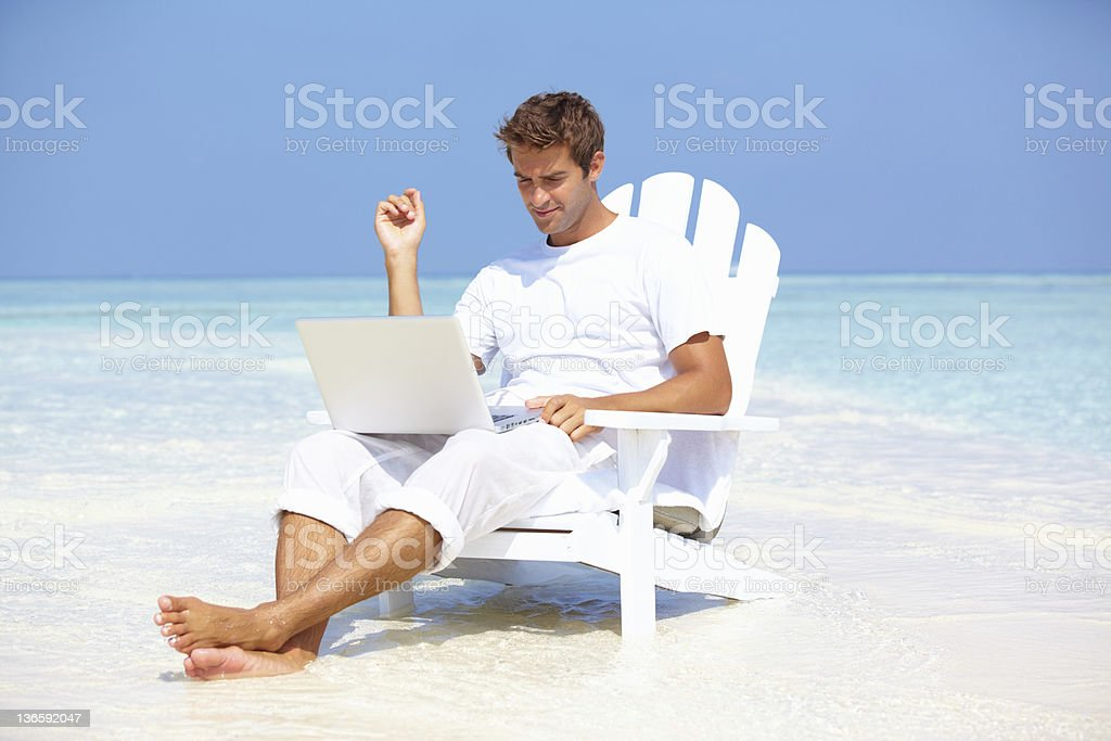 Networking on the beach royalty-free stock photo
