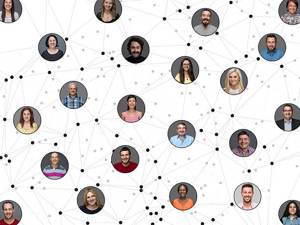 Networking portraits connected by lines stock photo
