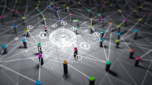 redes, redes sociales, comunicación por internet, 3d render - foto de stock