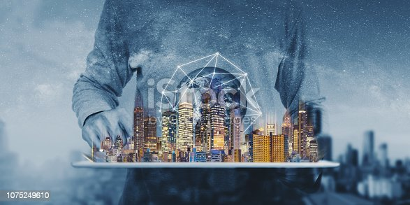 1082409706 istock photo Networking technology, augmented reality and smart city and technology. Element of this image are furnished by NASA 1075249610