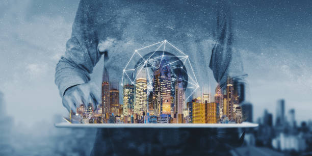 Networking technology, augmented reality and smart city and technology. Element of this image are furnished by NASA stock photo