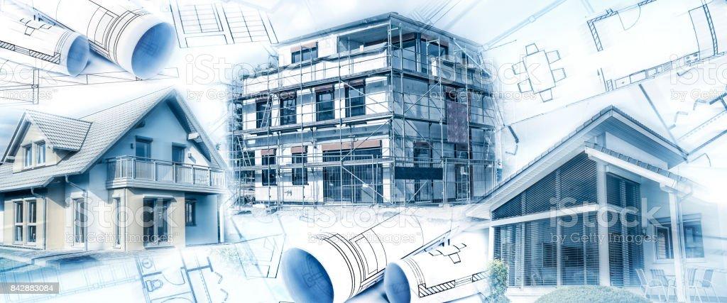 Neubauten Mit Einem Rohbau Und Bauplänen – Foto