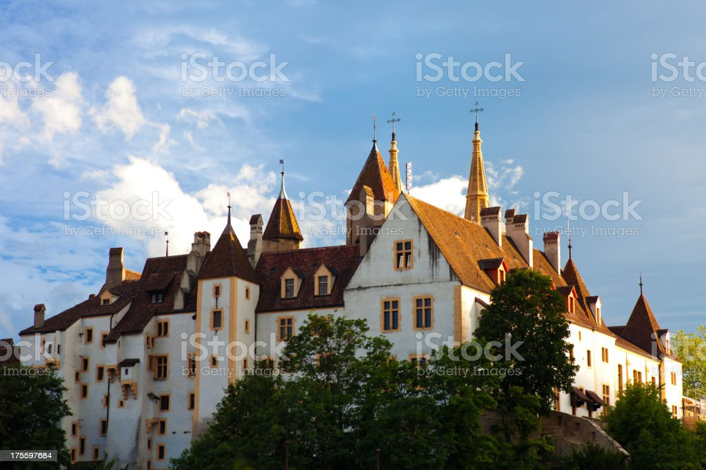 Neuchatel Collegiale Church exterior stock photo