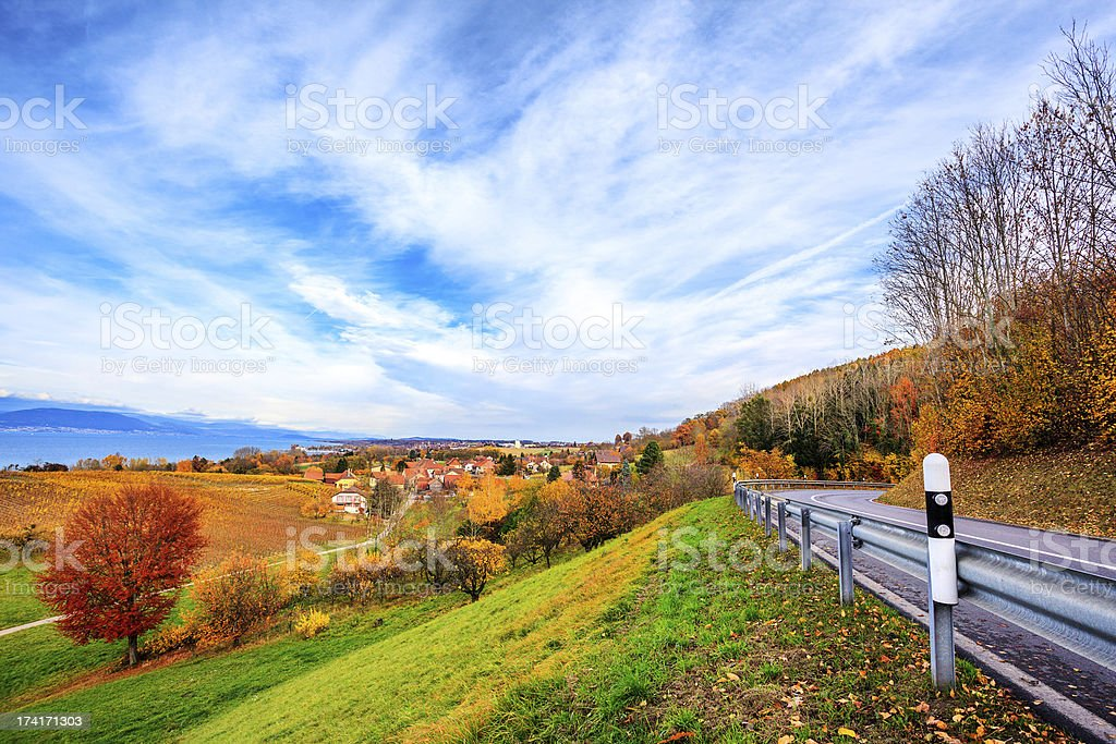 Neuchatel lake in Switzerland stock photo