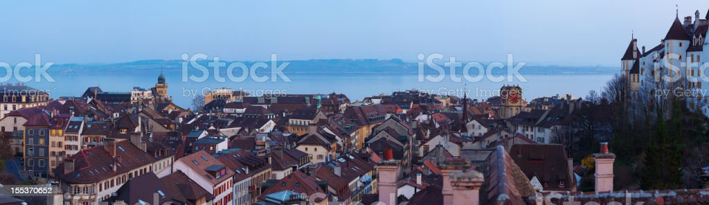 Neuchatel old town building panorama view royalty-free stock photo