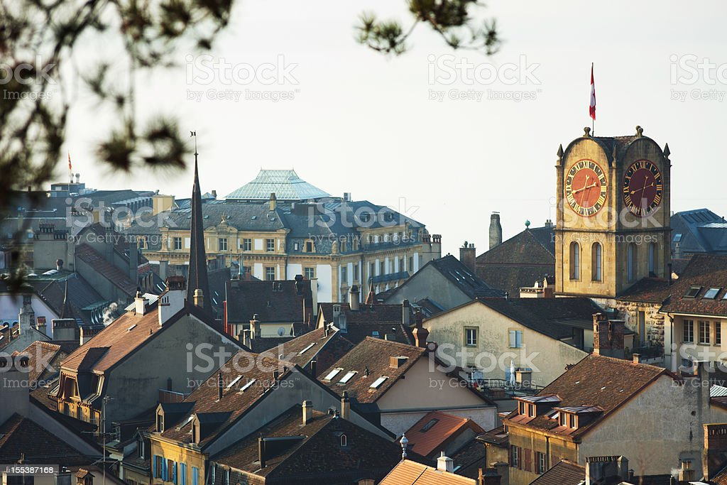 Neuchatel old town building stock photo