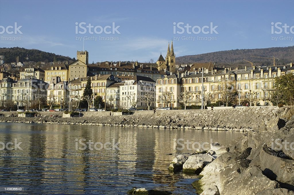 Neuchatel town view stock photo