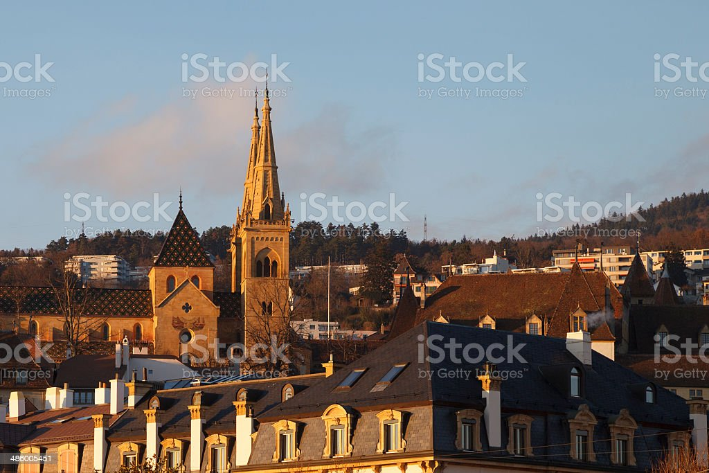 Neuchatel town view - Stock Image stock photo