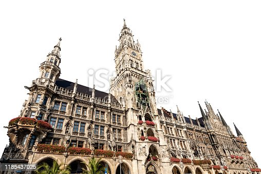 The New Town Hall of Munich isolated on white background. Neue Rathaus, XIX century neo-Gothic style palace in Marienplatz, the town square in historic center. Germany, Europe