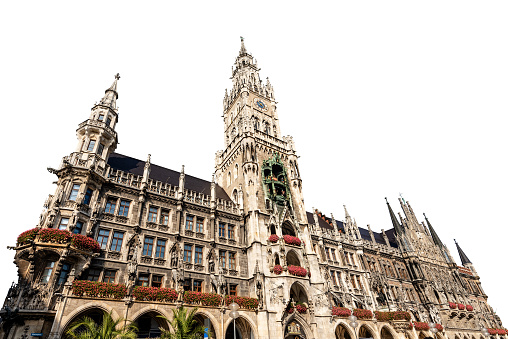 Neue Rathaus Munich Germany - New Town Hall isolated on white