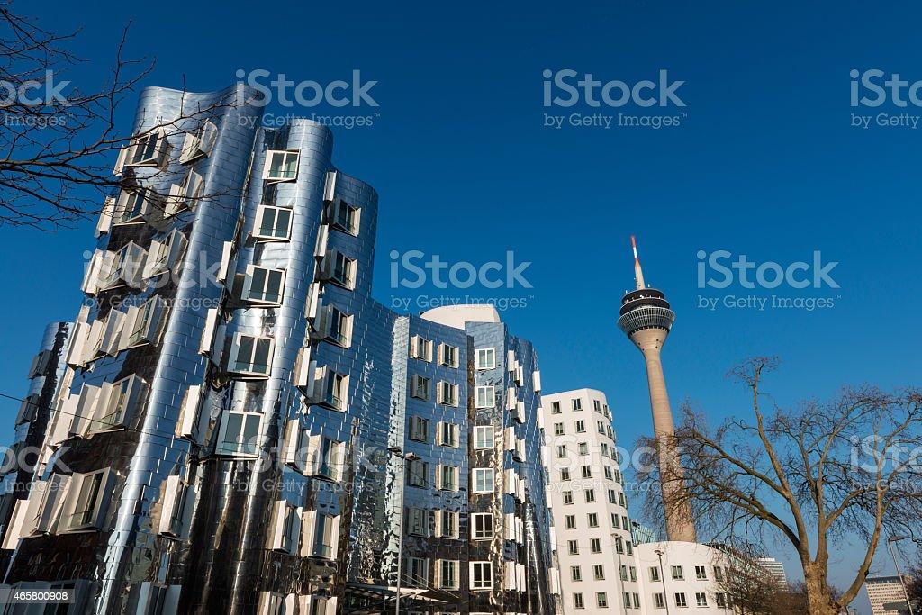 Neuer Zollhof buildings and Rhein Tower at MedienHafen, Dusseldorf stock photo