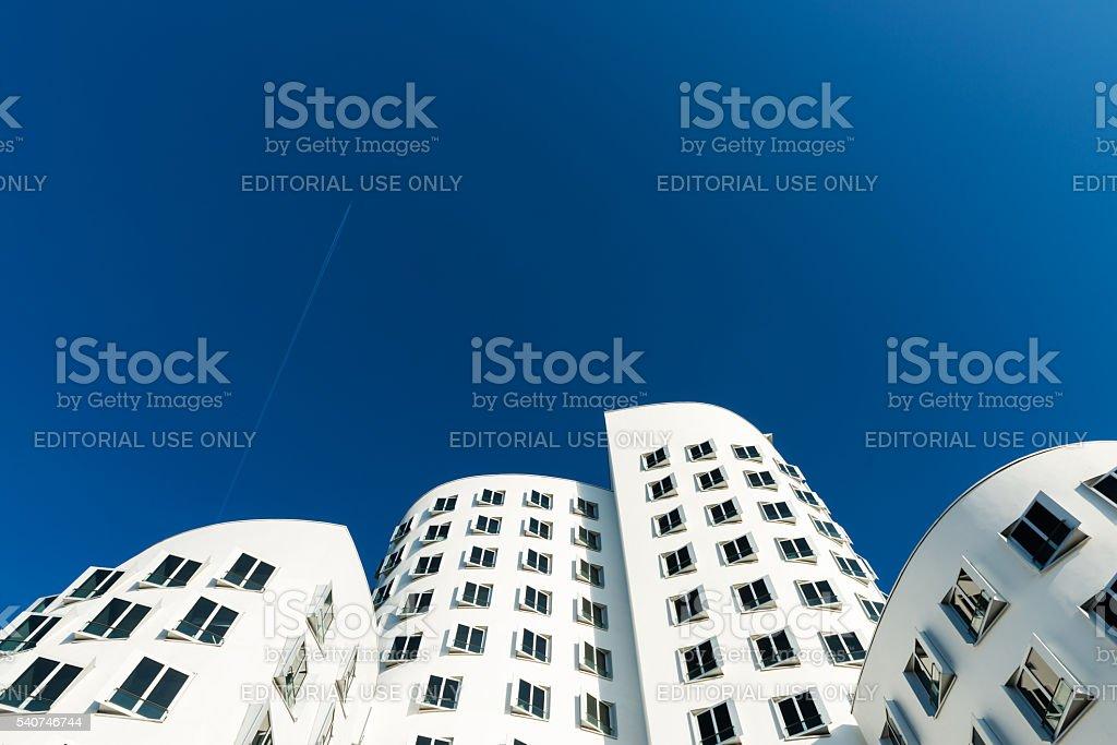 Neuer Zollhof buildings at MedienHafen, Dusseldorf stock photo