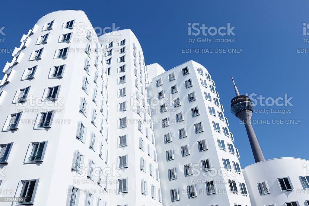 Neuer Zollhof buildings dusseldorf germany stock photo