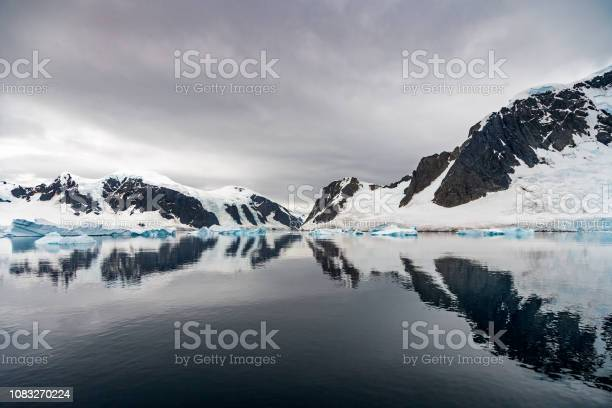Neumeyer Channel Antarctica Reflections Stock Photo - Download Image Now