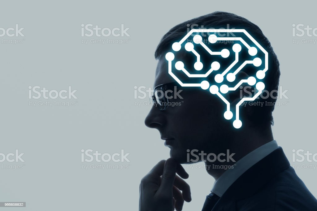 Neural implant concept. - foto stock