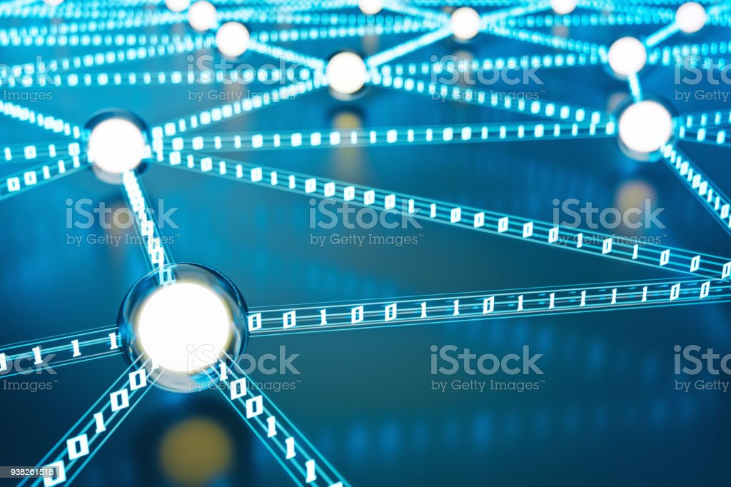 Neural Network, Data Exchange And Technology Background stock photo