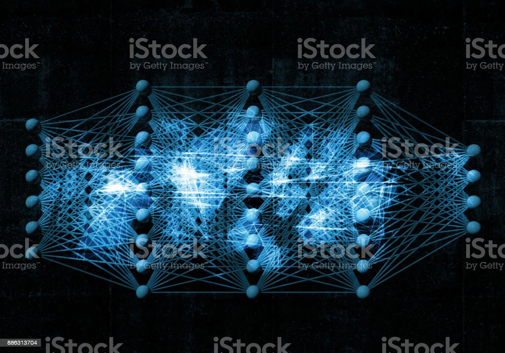 Neural network, digital blue background, 3d stock photo