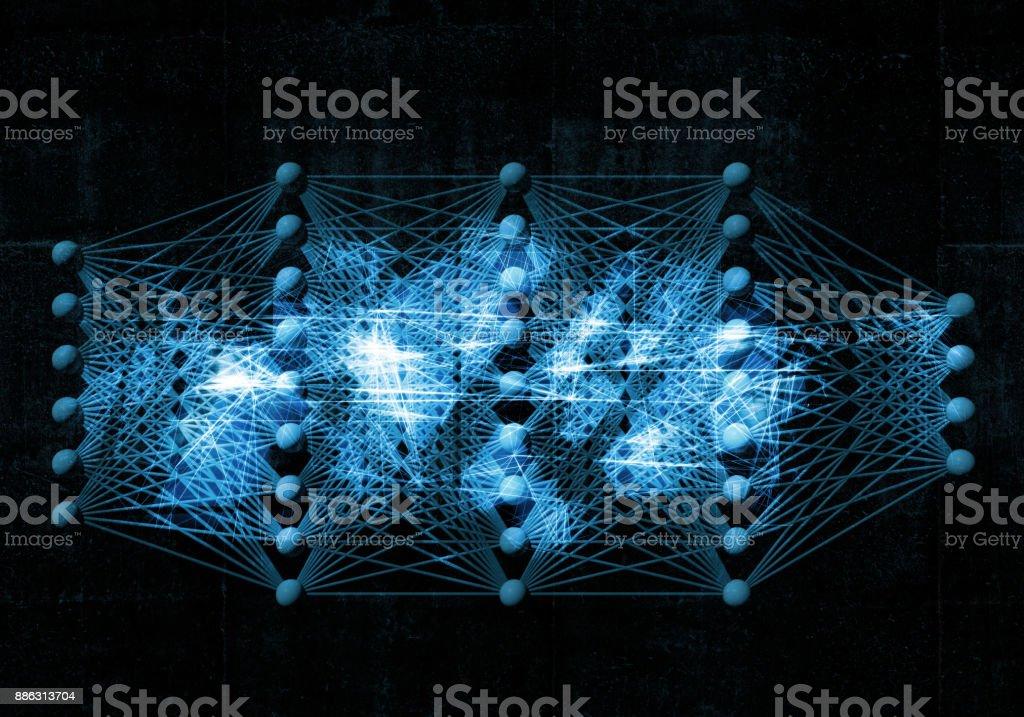 Neuronales Netz, digitale blauer Hintergrund, 3d – Foto
