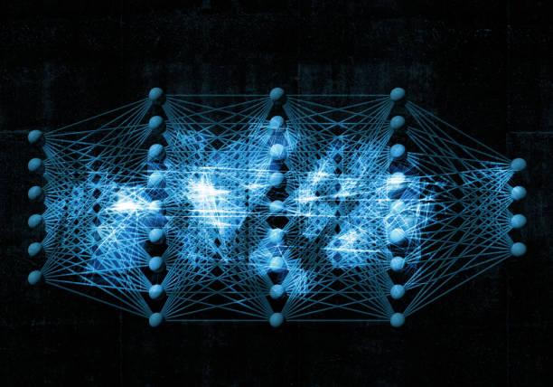 neuronales netz, digitale blauer hintergrund, 3d - synapse stock-fotos und bilder