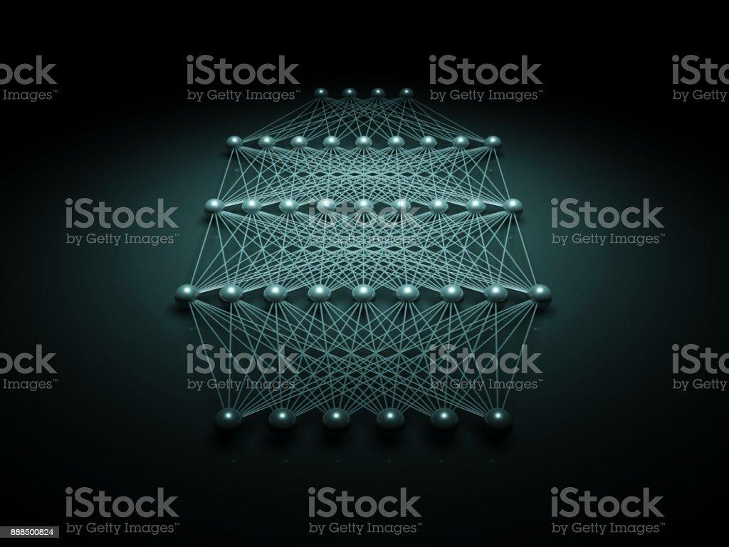 Photo libre de droit de Structure De Réseau Neuronal Vue 3d