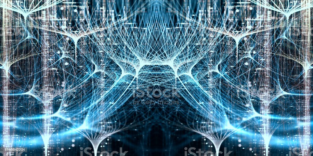 Neural network, symmetrical concept with depth of field Digitally generated image Artificial Stock Photo