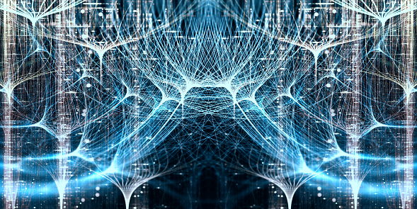 Neural Network Symmetrical Concept With Depth Of Field Stock Photo - Download Image Now