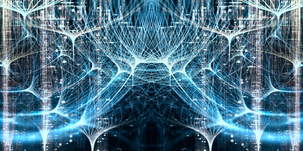 Neural network, symmetrical concept with depth of field Digitally generated image adversarial stock pictures, royalty-free photos & images