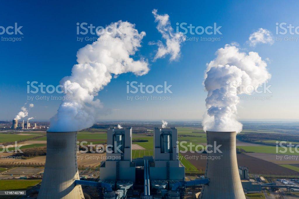 Braunkohlekraftwerk Neurath - Lizenzfrei Abgas Stock-Foto