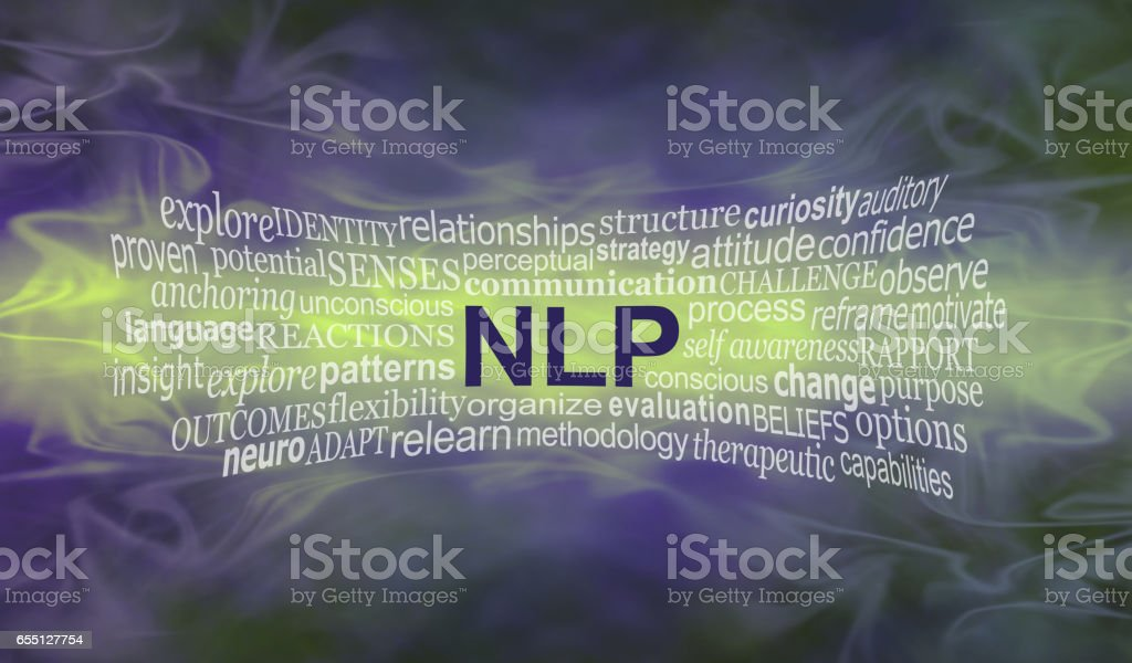 Neuro Linguistic Programming word cloud banner stock photo
