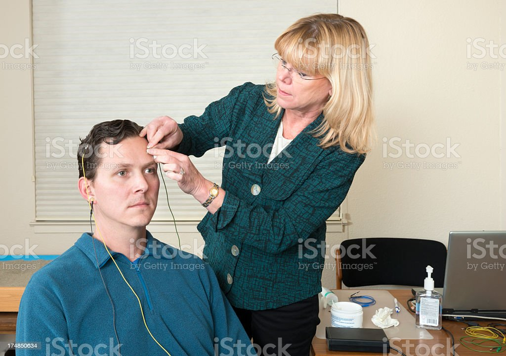 Neurofeedback Doctor and Patient stock photo
