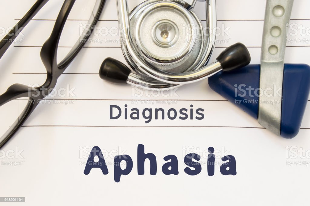 Neurological diagnosis of Aphasia. Neurological hammer, stethoscope and doctor's glasses lie on doctor workplace on sheet of notebook, labeled with the title of medical diagnosis of Aphasia stock photo