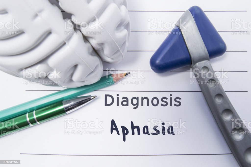 Neurological diagnosis of Aphasia. Neurological reflex hammer, shape of the brain, pen and pencil the lying on a medical report, labeled with diagnosis of Aphasia. Concept for neurology stock photo