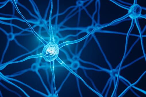 3d medical illustration of neuron cell network.