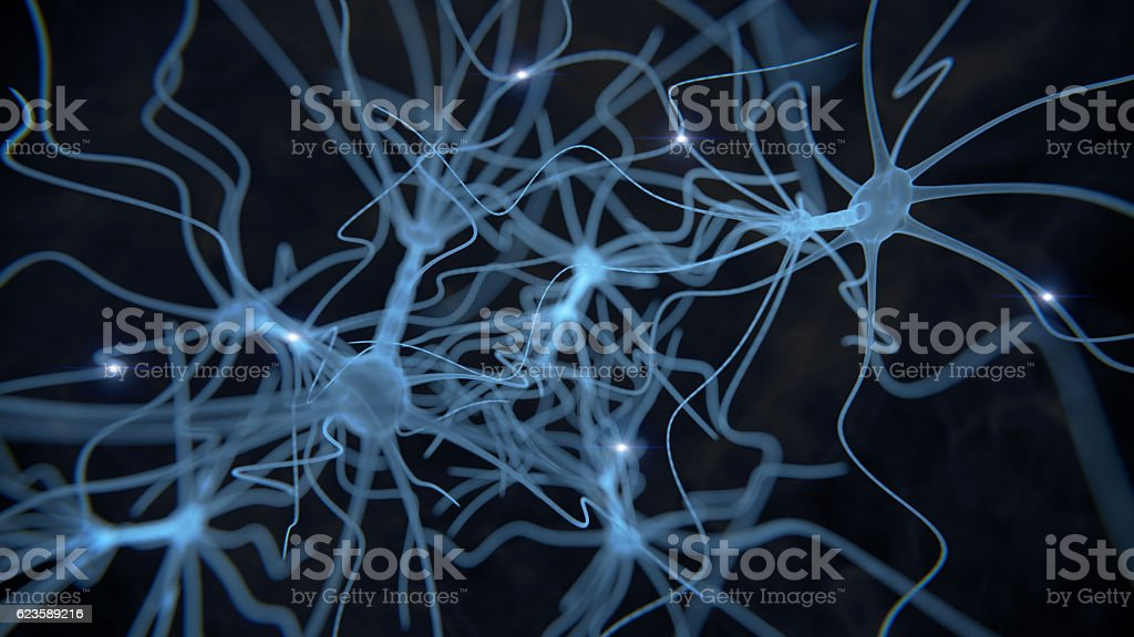 Neuron cell network on black stock photo