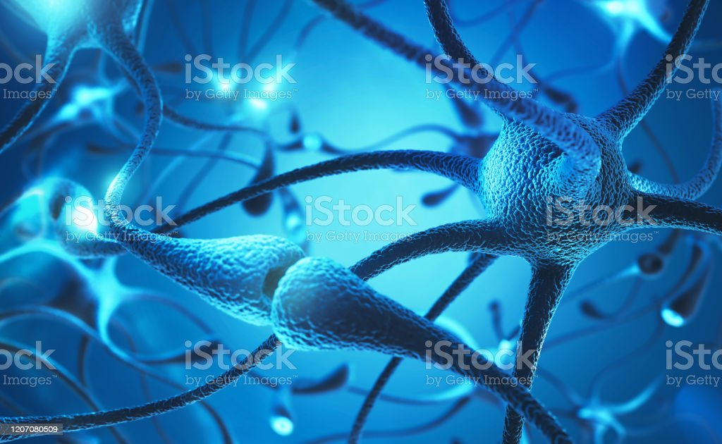 neuron cell. neuron cell with electrical pulses concept 3d illustration. Alzheimer's Disease Stock Photo