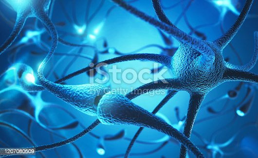 neuron cell with electrical pulses concept 3d illustration.