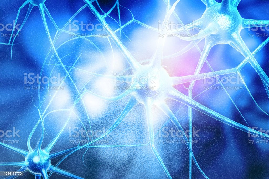 Neuron cells on abstract blue background stock photo