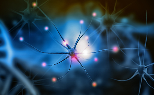 istock Neuron cells on abstract blue background 1044120202