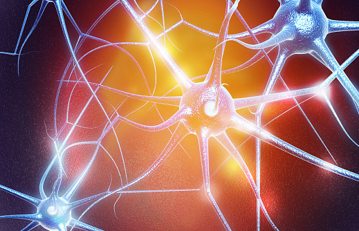 istock Neuron cells on abstract blue background 1048167256