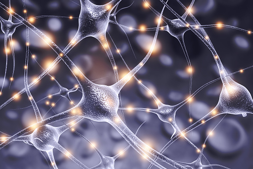 istock Neuron cells on abstract blue background 1051691046