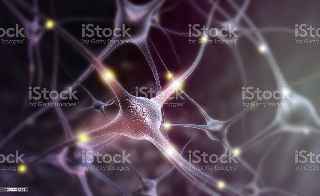 Neuron cells on abstract blue background Neuron cells on abstract blue background. 3d illustration Abstract Stock Photo