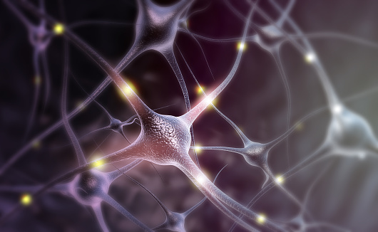 istock Neuron cells on abstract blue background 1058251278