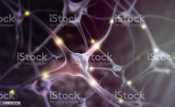 Neuron Cells On Abstract Blue Background Stock Photo - Download Image Now